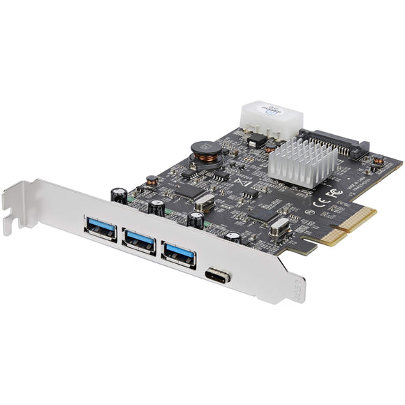 StarTech.com USB 3.1 PCIe Card - 3X USB-A and 1x USB-C - 2X Dedicated Channels - USB C PCIe Card - USB 3.1 Controller Card (PEXUS313AC2V)
