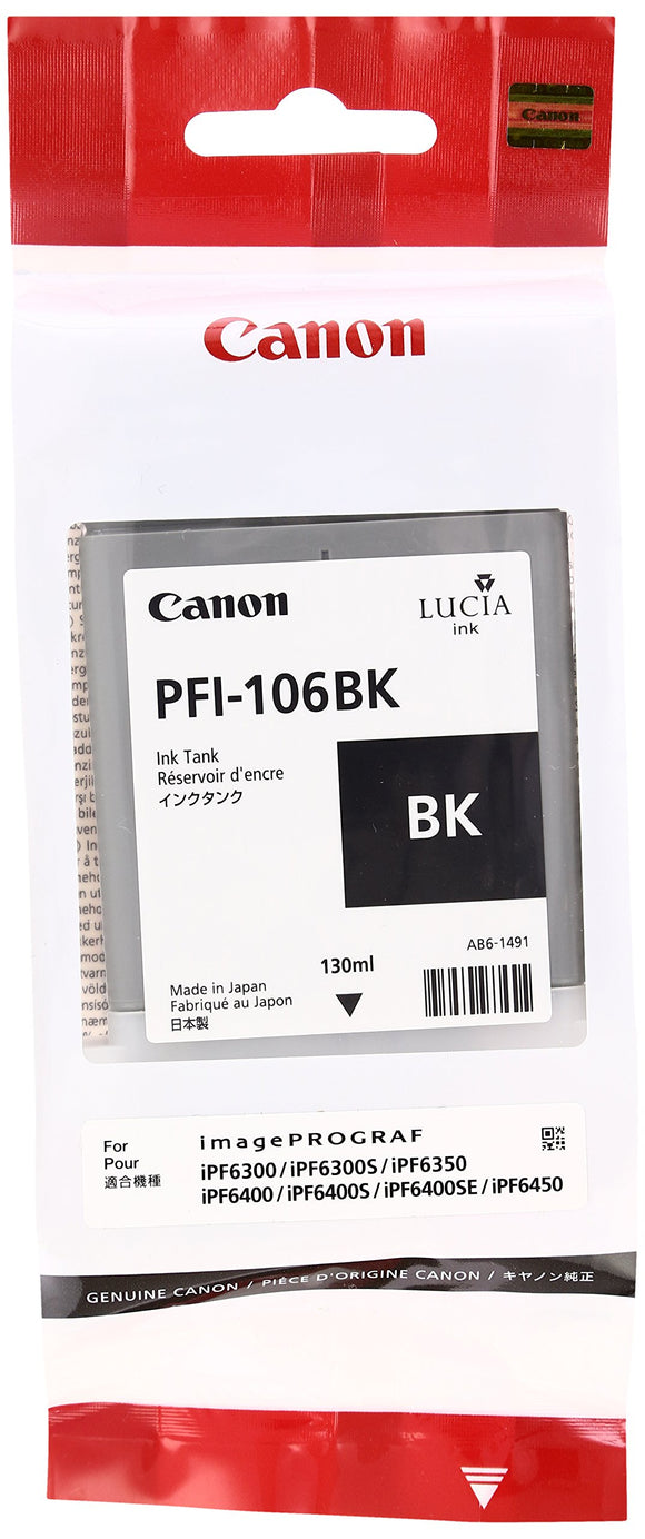 Canon PFI-106 BK - 130 ml - Black - Original - Ink Tank - for imagePROGRAF iPF6400, iPF6400SE, IPF6450