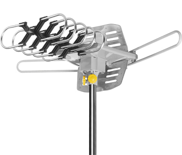 Ematic EDT312ANT HD 1080p Motorized Rotating Outdoor Amplified TV Antenna UHF/VHF/FM with 150 Mile Range