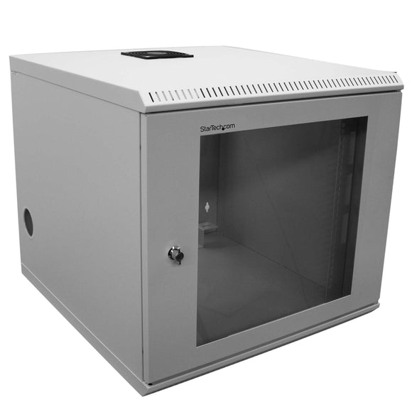 StarTech.com 2 Post Wall Mount Network Switch Cabinet - 10U Mounting Rack Cabinet - Secure & Enclosed - Locking - 10U Equipment Rack (CAB1019WALL)