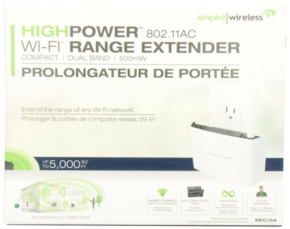 AMPED WIRELESS REC15A-CA High Power Compact AC 2.4GHz Wifi Extender 802.11 a/b/g/n/ac