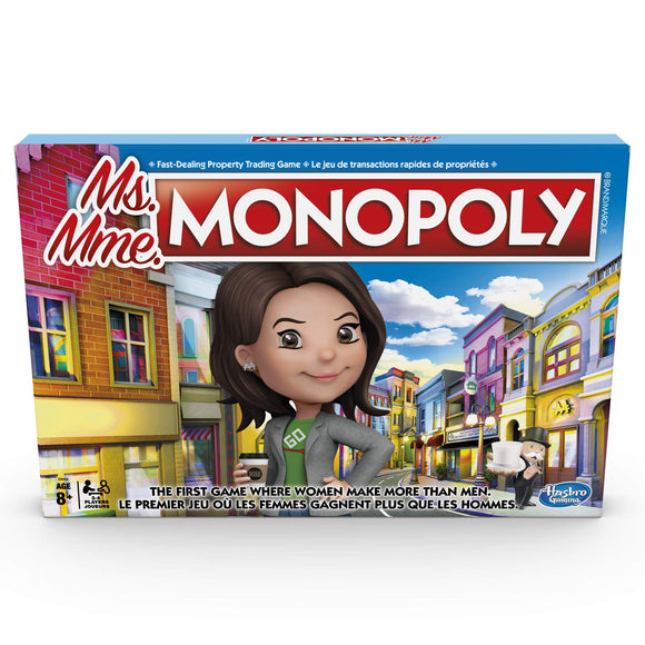 Hasbro Ms. Monopoly Board Game; First Game Where Women Make More Than Men; Features Inventions by Women; Game for Families and Kids Ages 8 and Up