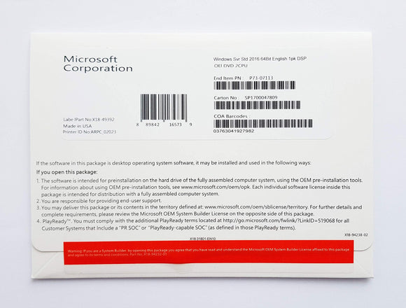 Microsoft Windows Svr Std 2016 64Bit English 1 Pack DSP OEI DVD 16 Core Standard Edition