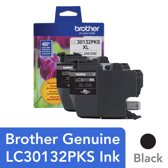 Brother Genuine LC30132PKS 2-Pack High Yield Black Ink Cartridges, Page Yield Up to 400 Pages/Cartridge, LC3013