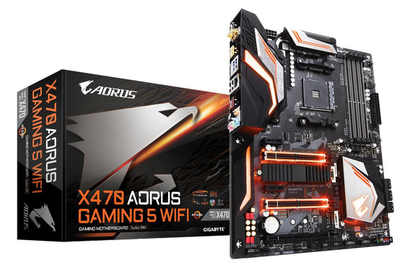 GIGABYTE X470 AORUS GAMING 5 WIFI (AMD Ryzen AM4/ X470/ USB 3.1 Gen 2 Type A, Type C/ ATX/ DDR4/ Intel Wave 2 WIFI/ M.2/ HDMI/ Motherboard)