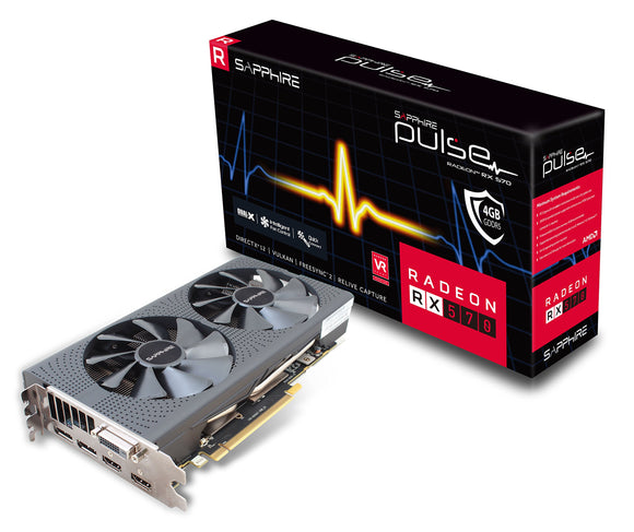 Sapphire Technology Technology 11266-04-20G Radeon Pulse RX 570 4GB GDDR5 Dual HDMI/ DVI-D/ Dual DP OC with Backplate (UEFI) PCI-E Graphics Card