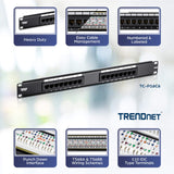 TRENDnet 16-Port Cat6 Unshielded Wallmount or Rackmount Patch Panel, Compatible with Cat 3/4/5/5e/6 Cabling, TC-P16C6