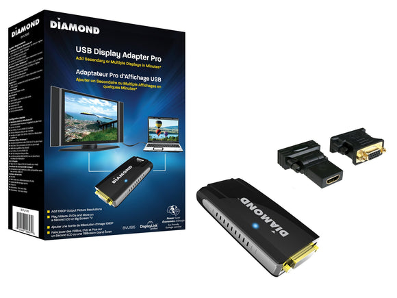 Diamond BVU195 HD USB Display Adapter (DVI and VGA with Included DVI to VGA Adapter)