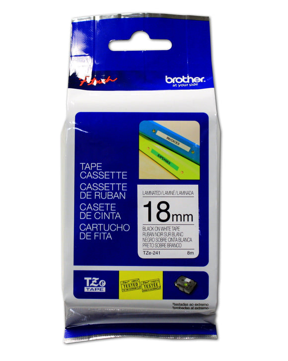 Brother TZE241 Genuine P-Touch Tape (18mm Black on White)