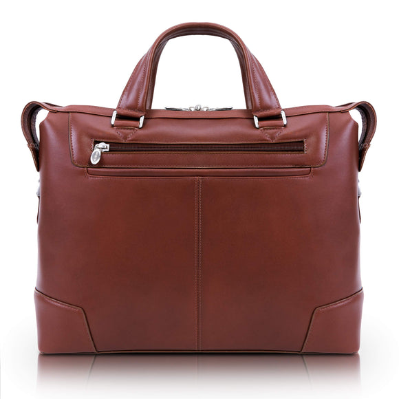McKlein Arcadia, Top Grain Cowhide Leather, Slim Laptop Briefcase, Brown (88764)