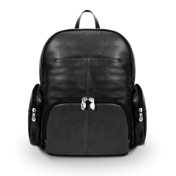 McKlein S Series, Cumberland, Pebble Grain Calfskin Leather, Dual Compartment Laptop Backpack, Black (88365)