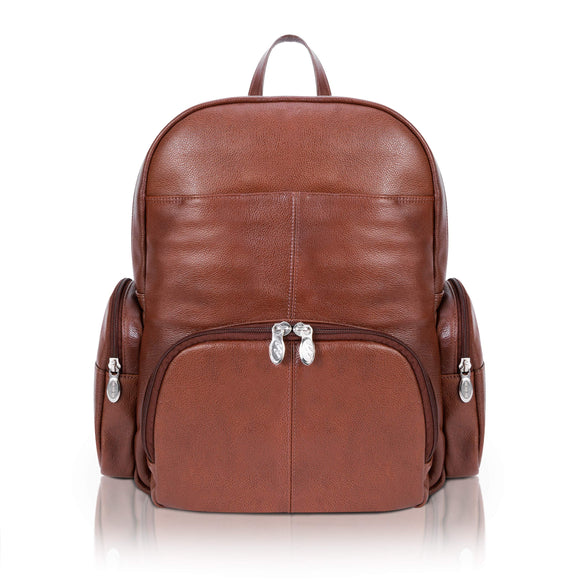 McKlein S Series, Cumberland, Pebble Grain Calfskin Leather, Dual Compartment Laptop Backpack, Brown (88364)