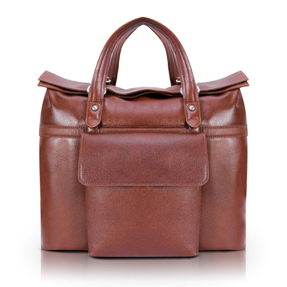 McKlein S Series, Edgefield, Pebble Grain Calfskin Leather, Roll Top Laptop Briefcase, Brown (88754)