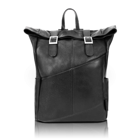 McKlein Pebble Grain Calfskin Leather, Dual Access Laptop Backpack, Black (88735)