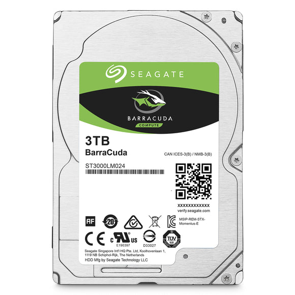 Open box of Seagate BarraCuda 3TB Internal Hard Drive HDD - 2.5 Inch SATA 6Gb/s 5400 RPM 128 MB Cache for Computer Desktop PC (ST3000LM024)