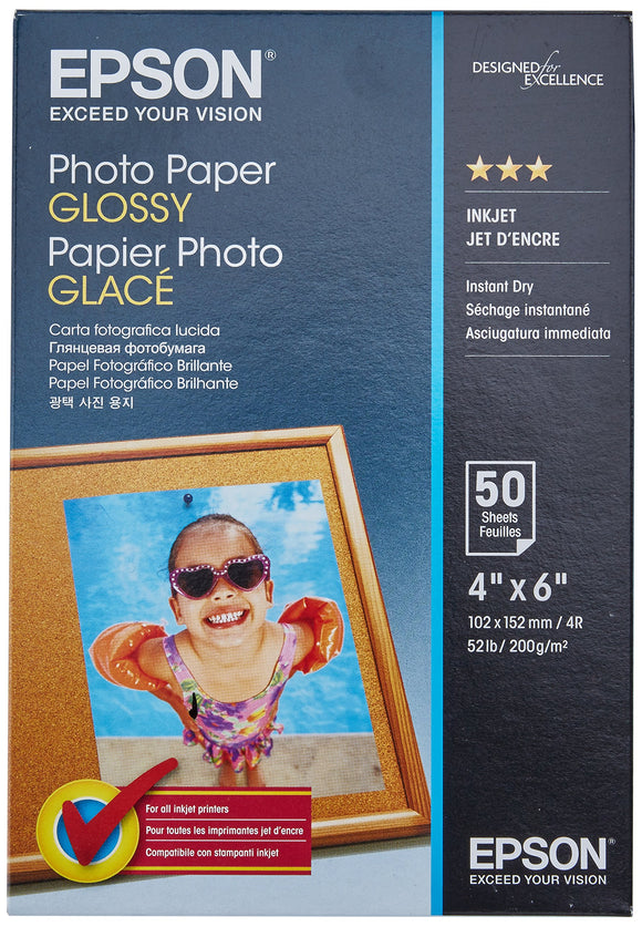 Epson S041809 Photo Paper Glossy, Borderless, 4 X 6, 50 Sheets Ink