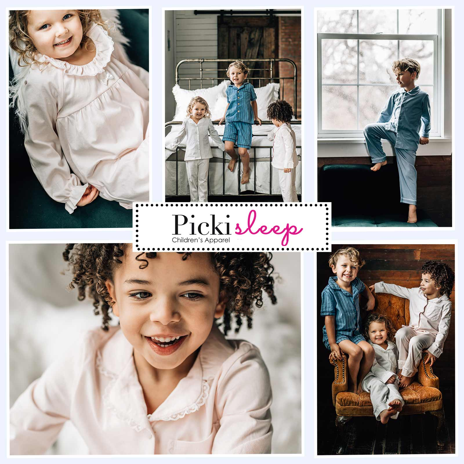 Kids pajamas in blue, pink and white.