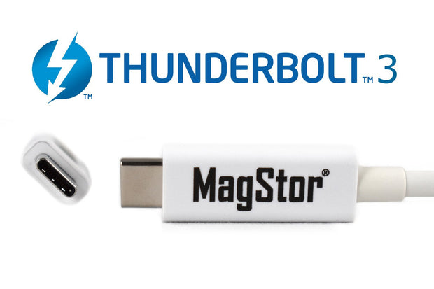 MagStor (Intel Certified) Thunderbolt 3 5A 100W (40Gbps) Active Cable 2M, 6.6ft (White)