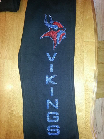 """Vikings"" Super Glitter Sweatpants w/pockets - Red/Blue"