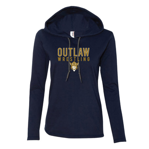 Outlaw Women's Lightweight Long Sleeve Hooded T-Shirt (multiple colors)