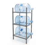 3 Step Metal Bottle Storage Rack - Holds 3 Bottles, Dust Black