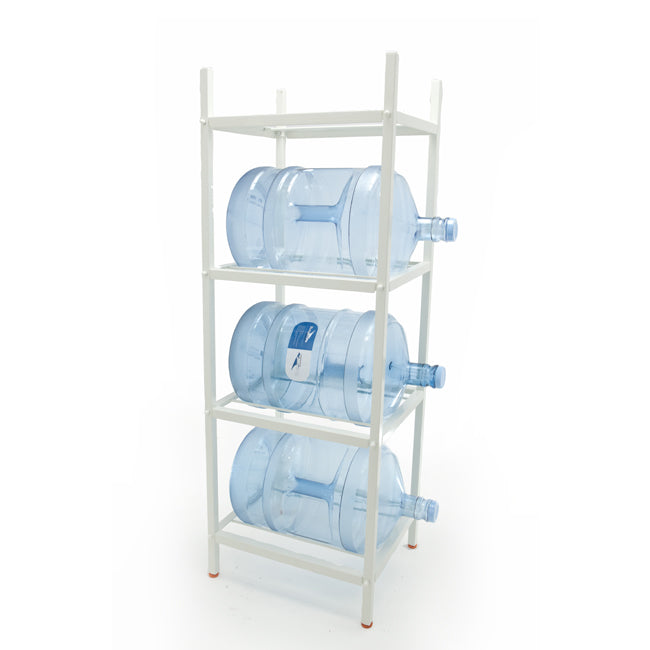 4 Step Metal Bottle Storage Rack - Holds 4 Bottles, White