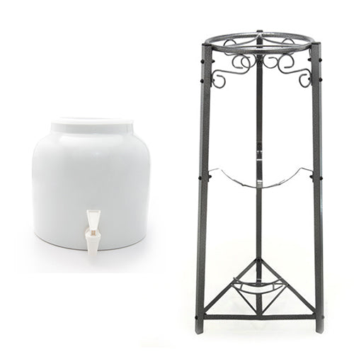 Classic White Beverage Dispenser & 3 Step Floor Metal Stand Bundle