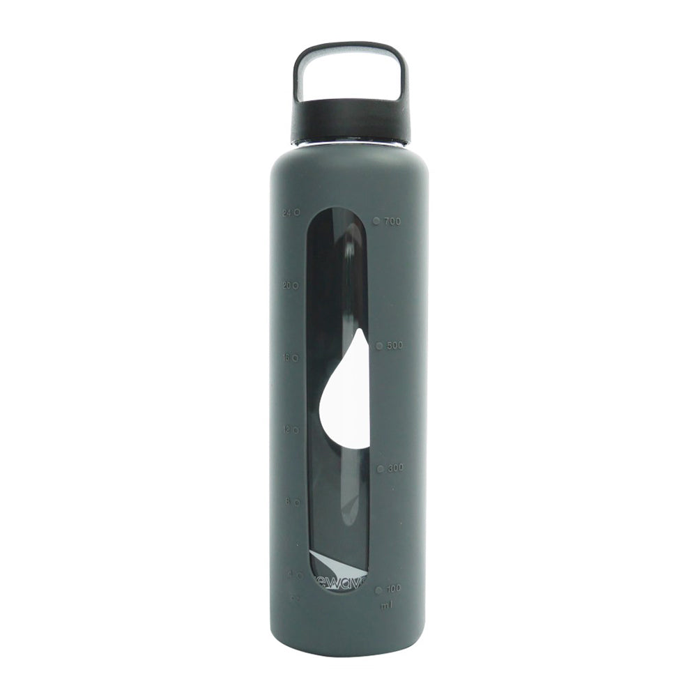 Glass Water Bottle - 750ml / 25oz - Grey