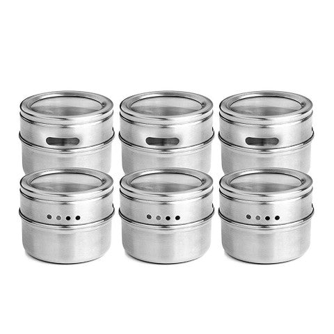 Stainless Steel Storage Jars 90 ml | 3 oz - 6 Piece Set