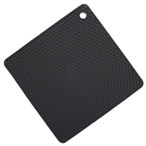 "Silicone Square Trivet Mat - 7"" x 7"" Inches, Black"