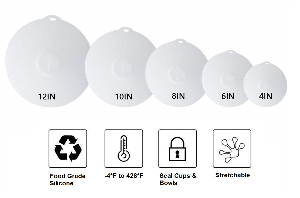Silicone Lids - For Bowls, Pots, & Cups