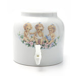 Bluewave Floral Angels Design Beverage Dispenser Crock