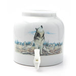 Bluewave Howling Wolf Design Beverage Dispenser Crock