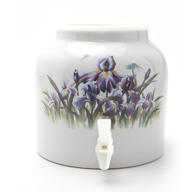 Bluewave Purple Iris Design Beverage Dispenser Crock