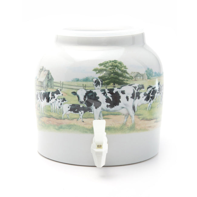 Bluewave Country Cows Design Beverage Dispenser Crock
