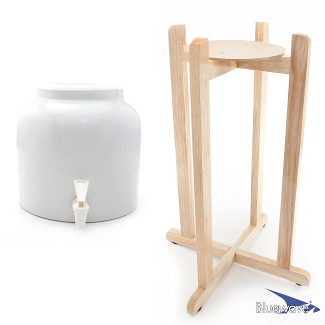 Classic White Beverage Dispenser & Floor Wood Stand