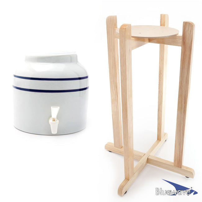 Classic Blue Stripe Beverage Dispenser & Floor Wood Stand