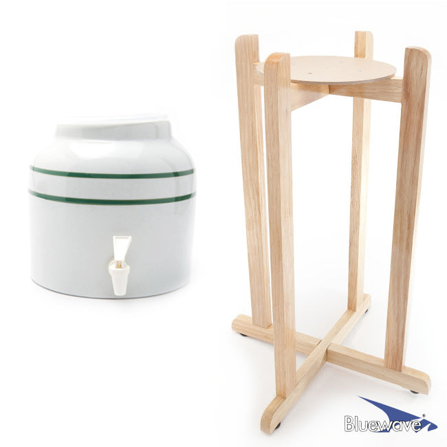 Stripe Design Beverage Dispenser & Floor Wood Stand