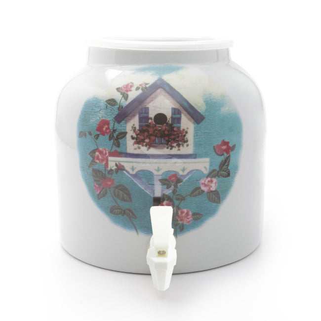Bluewave Bird House & Floral Design Beverage Dispenser Crock