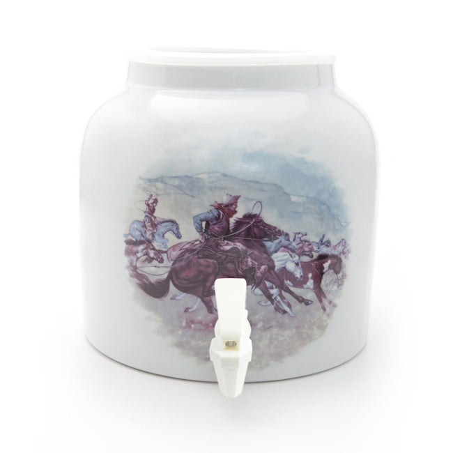 Bluewave Cowboy Design Beverage Dispenser Crock