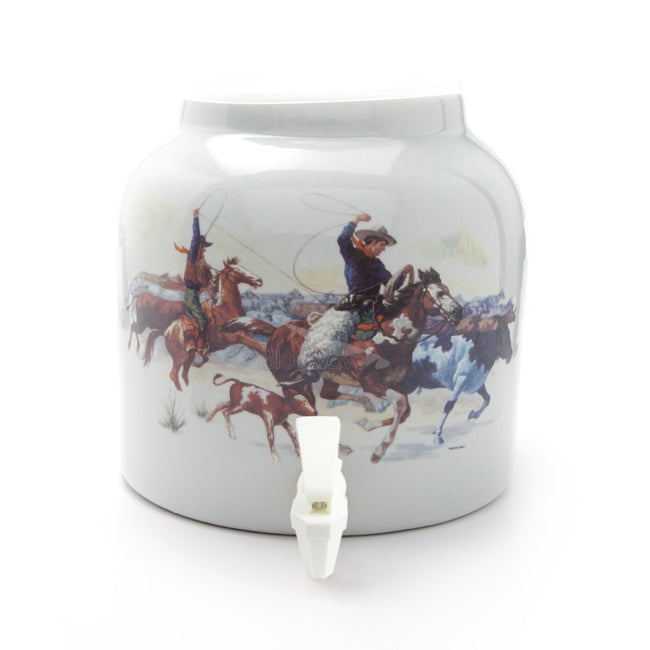Bluewave Gallant Cowboys Design Beverage Dispenser Crock