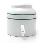 Bluewave Green Stripe Design Beverage Dispenser Crock