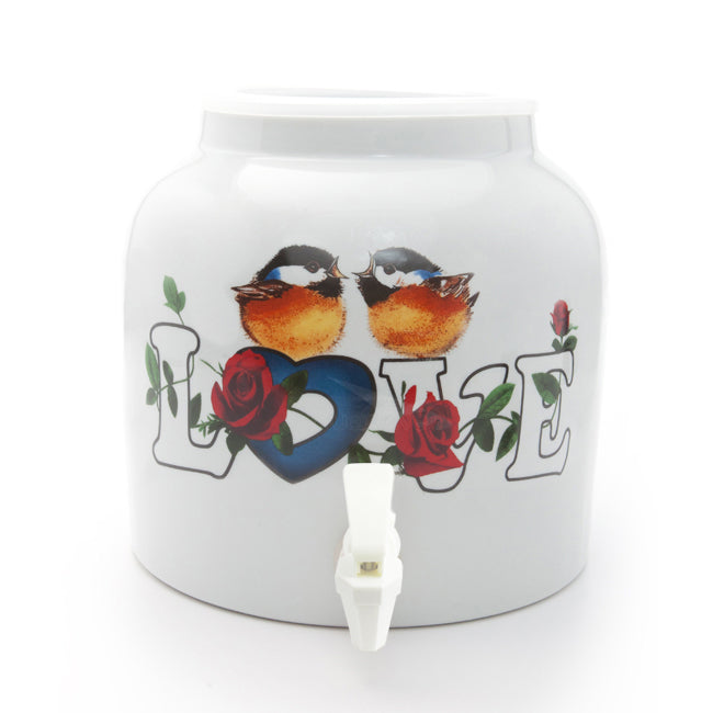 Bluewave Love Birds Design Beverage Dispenser Crock
