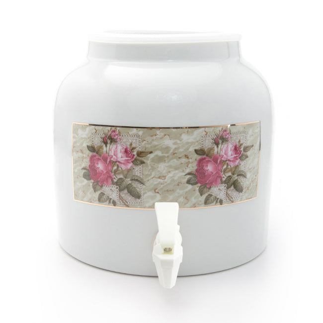 Bluewave Pink Roses Design Beverage Dispenser Crock
