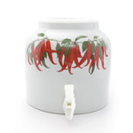 Bluewave Red Chili Pepper Design Beverage Dispenser Crock