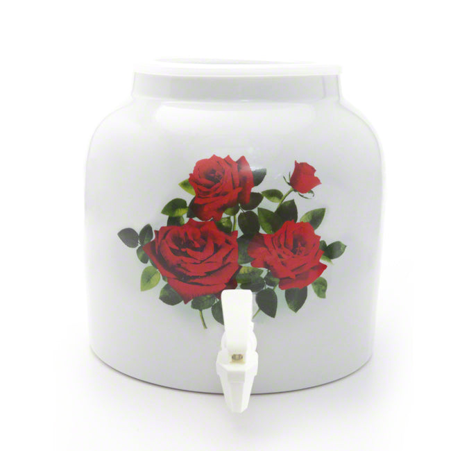 Bluewave Red Roses Design Beverage Dispenser Crock