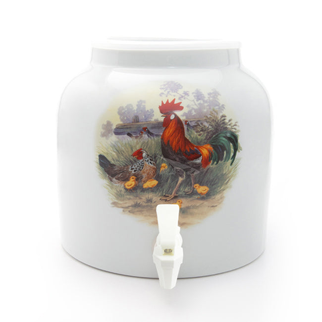 Bluewave Rooster with Chicks Design Beverage Dispenser Crock