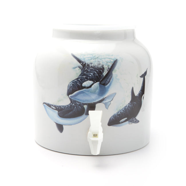 Bluewave Killer Whales Design Beverage Dispenser Crock
