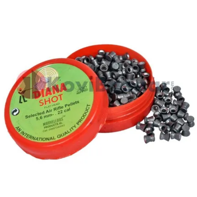 Marvellous Diana Shot Flat Head  (0.22Cal/5.5mm) 200/Tin,12.8 gr Airgun Pellets - Kovibazaar