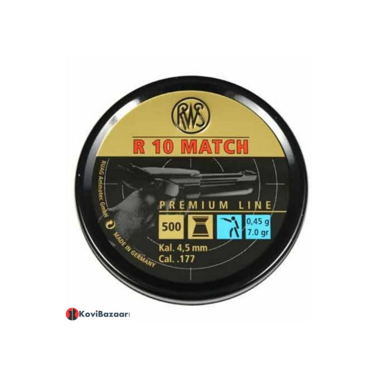 RWS R-10 Match Pistol (0.177cal/4.5mm) 7.0 Grains, Wadcutter, 500ct Airgun Pellets - Kovibazaar
